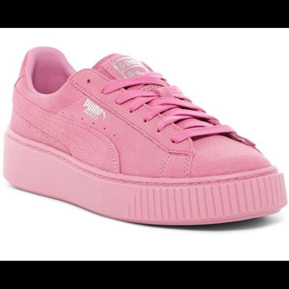 hot-selling authentic buy cheap on feet images of Puma Basket Platform Sneaker Pink